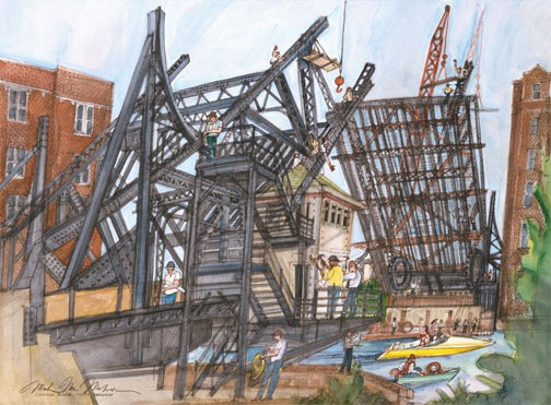 Construction of Draw Bridge, Chicago